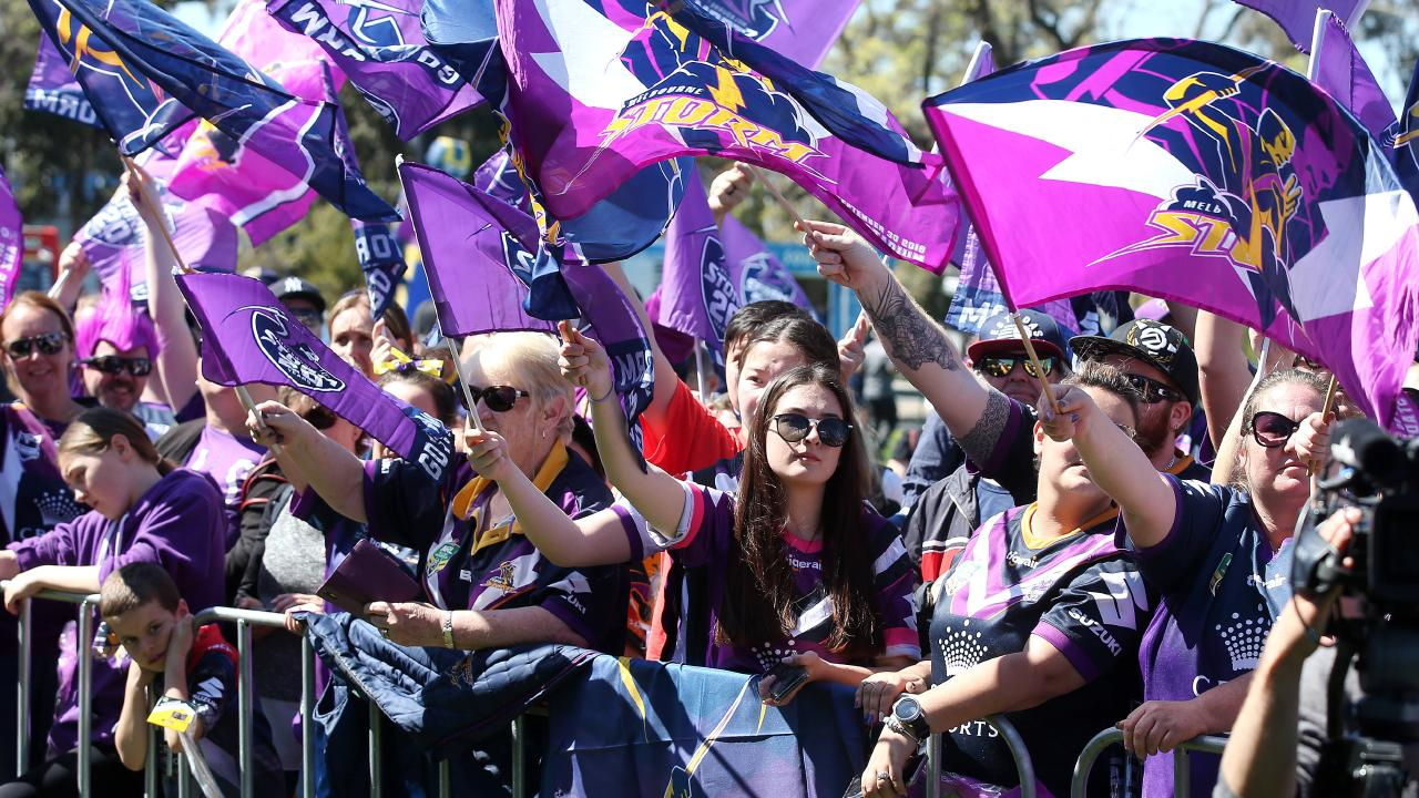 Melbourne Storm fans greet the players after losing the grand final. Pic: Michael Klein
