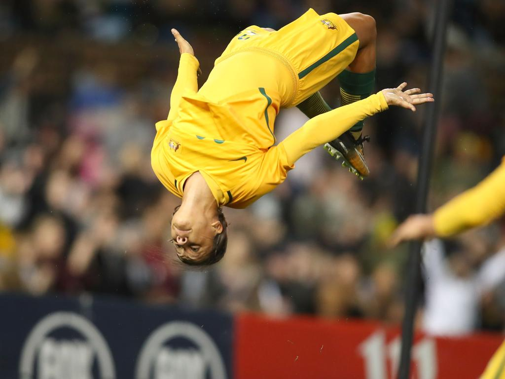 Not this time. Sam Kerr celebrates scoring for the Matildas against Brazil in Newcastle last year. Picture: Getty Images