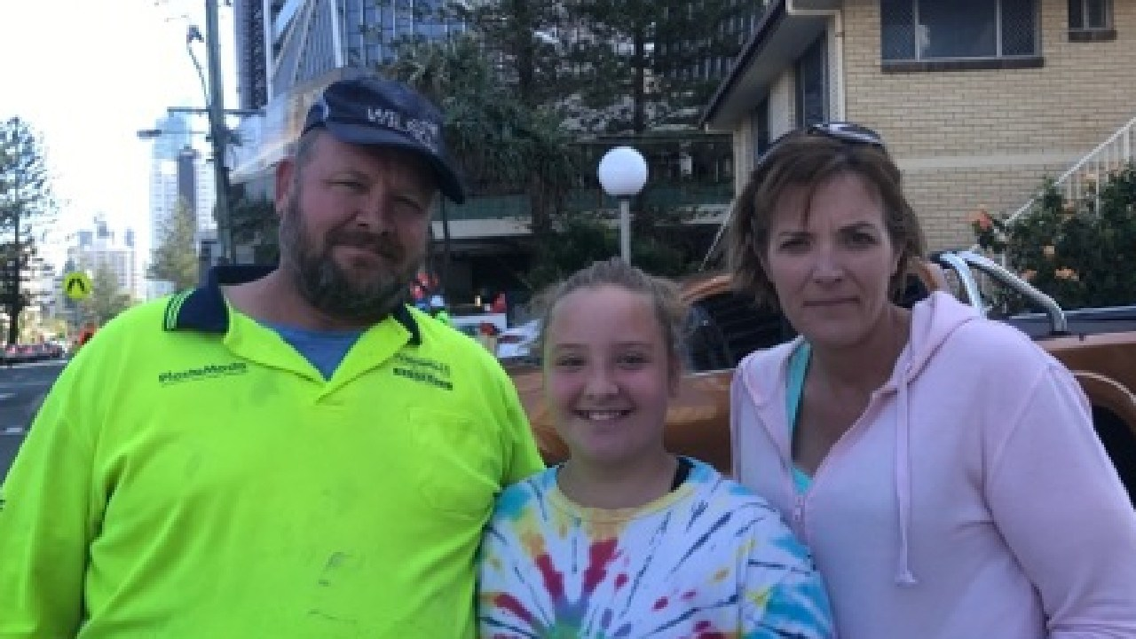 Al Drescher was picked up from work early by daughter Mia and wife Jackie on Wednesday after more than 800 tradies decided to strike at the Jewel.