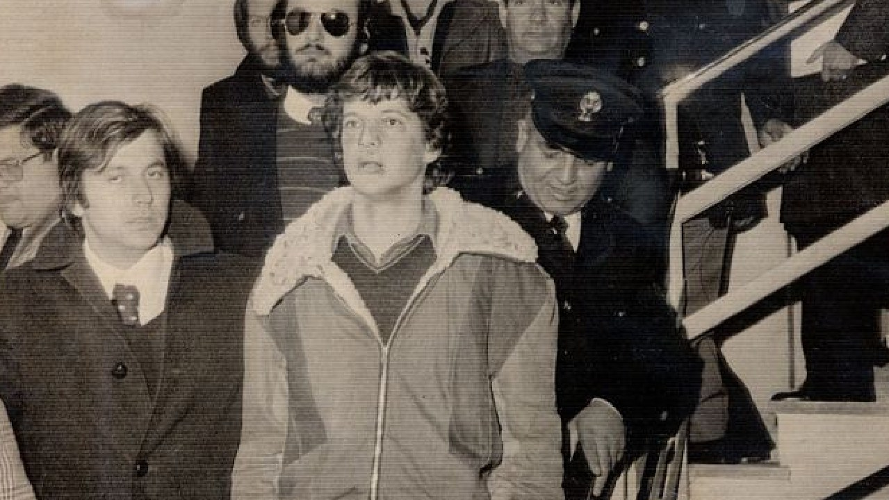 A bewildered John Paul Getty III faces the world at an Italian police station in January 1974 shortly after being freed.