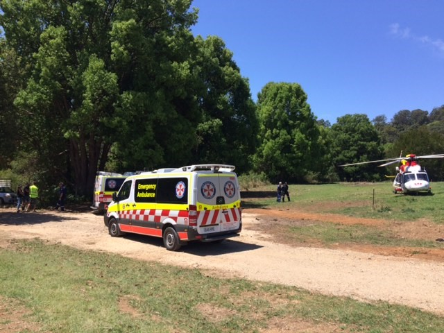 The Westpac Life Saver Rescue Helicopter is on scene after a child fell from a tree.