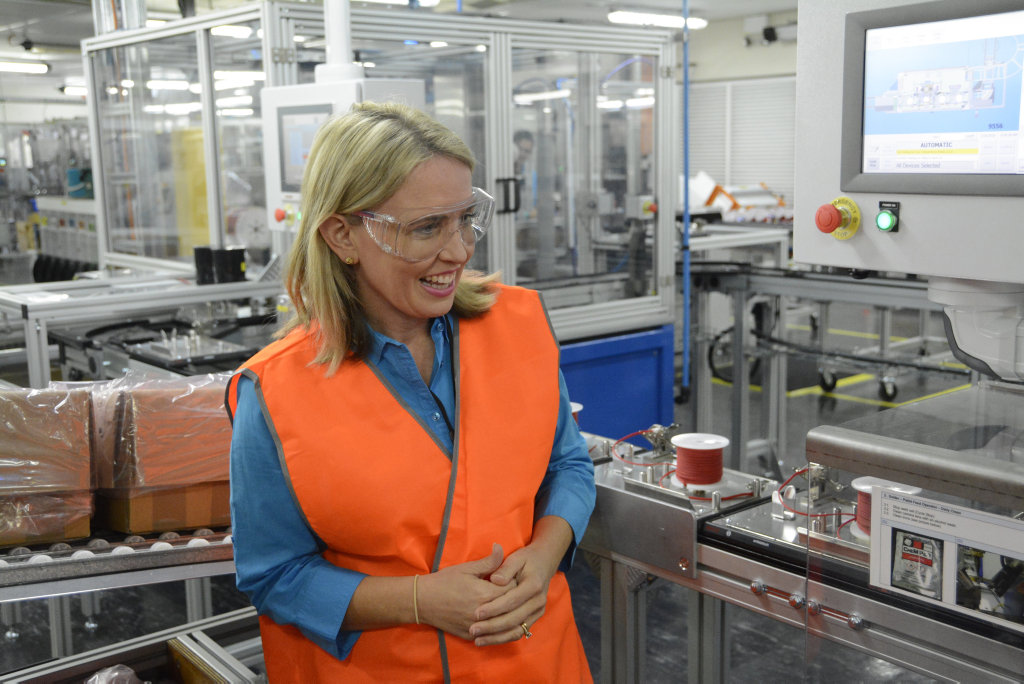 Industry Minister Kate Jones has launched the new electronic blasting system assembly line by Orica's factory in Helidon.