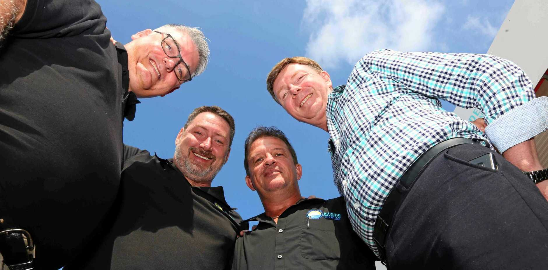 TIME TO PAUSE: Group manager of Wesley LifeForce Tony Cassidy with Ron Petterson, Kev Francke and Paul Burke of Whitsunday Suicide Prevention Network.