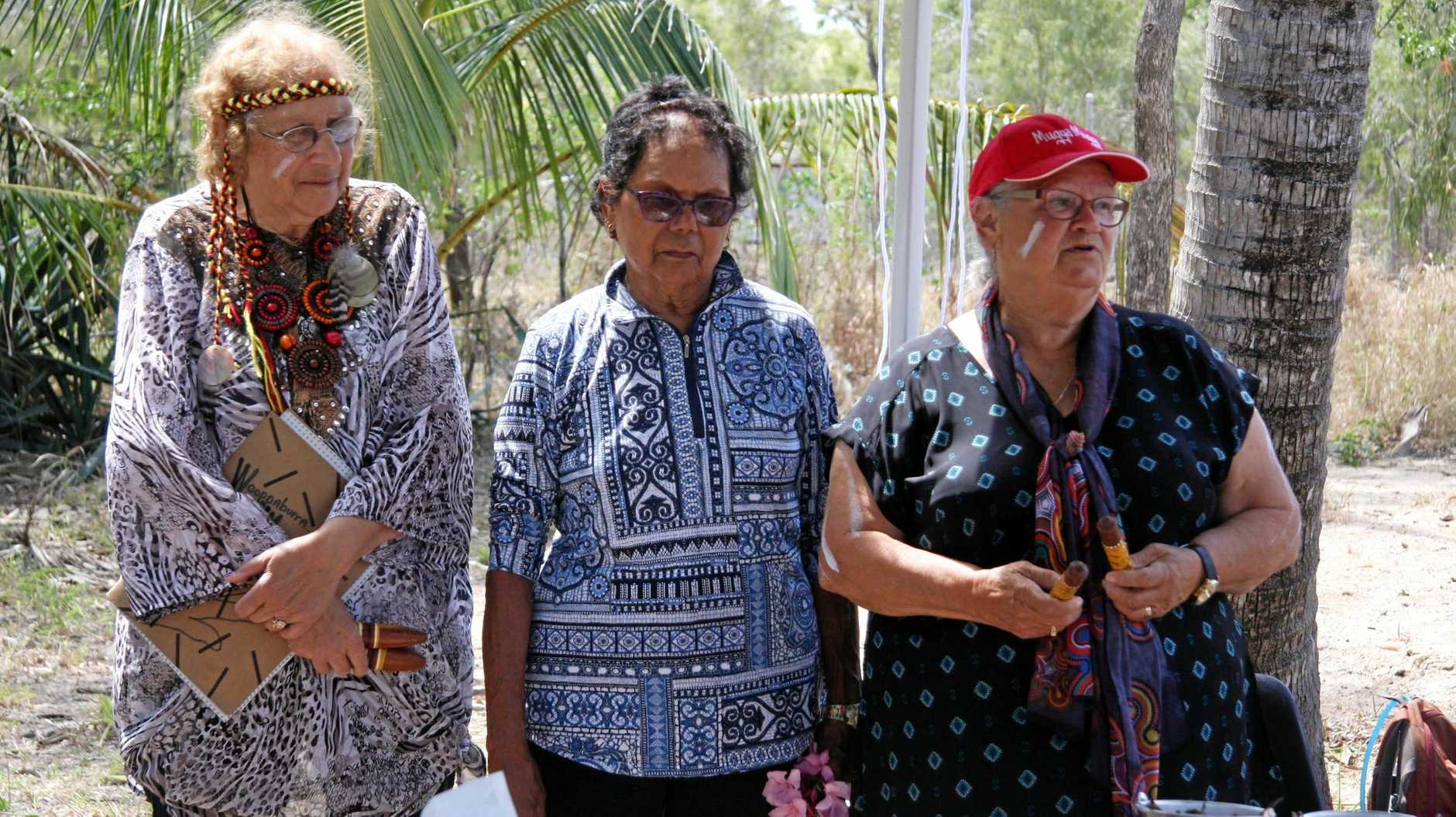 Woppaburra Elder Warinkil Auntie Glenice Croft, Auntie Julie Blair and Dulling Senior Elder Auntie Sue Hansen  were moved to tears to be in the presence of the Sacred Inkil's Ancestors ceremonial wailing stone