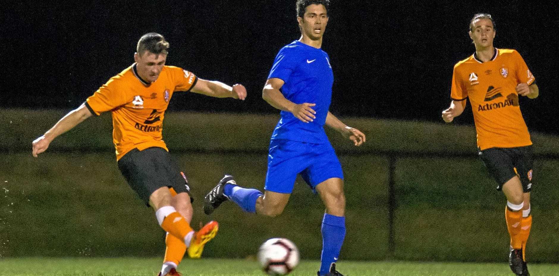 STRIKING EFFORT: Ipswich footballer Dylan Wenzel-Halls is quickly adjusting to Brisbane Roar A-League expectations.