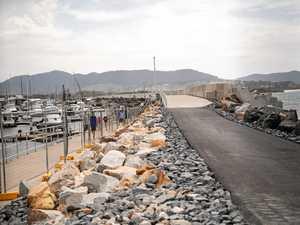 Rebuilt harbour breakwall opens