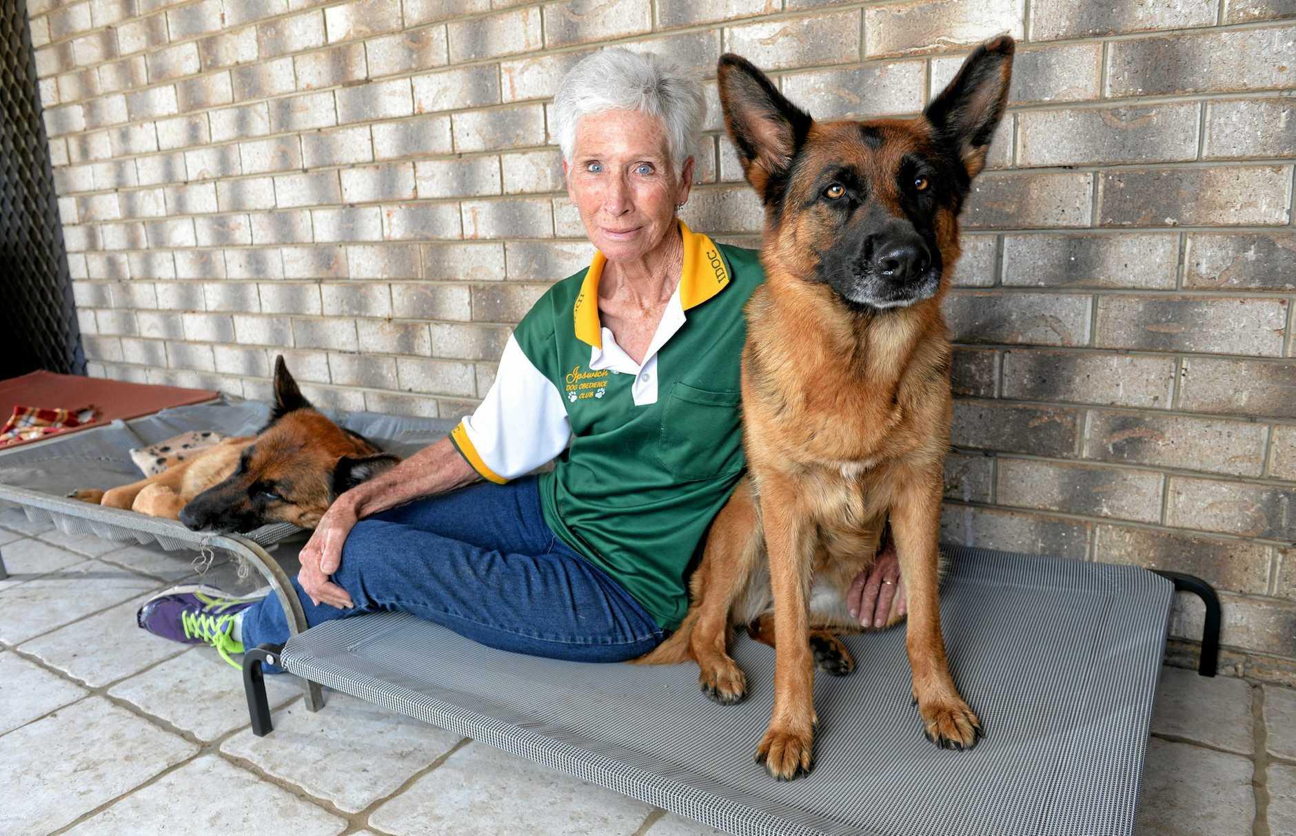 Dog breeder Ann Clarkson with Whitney and Xena