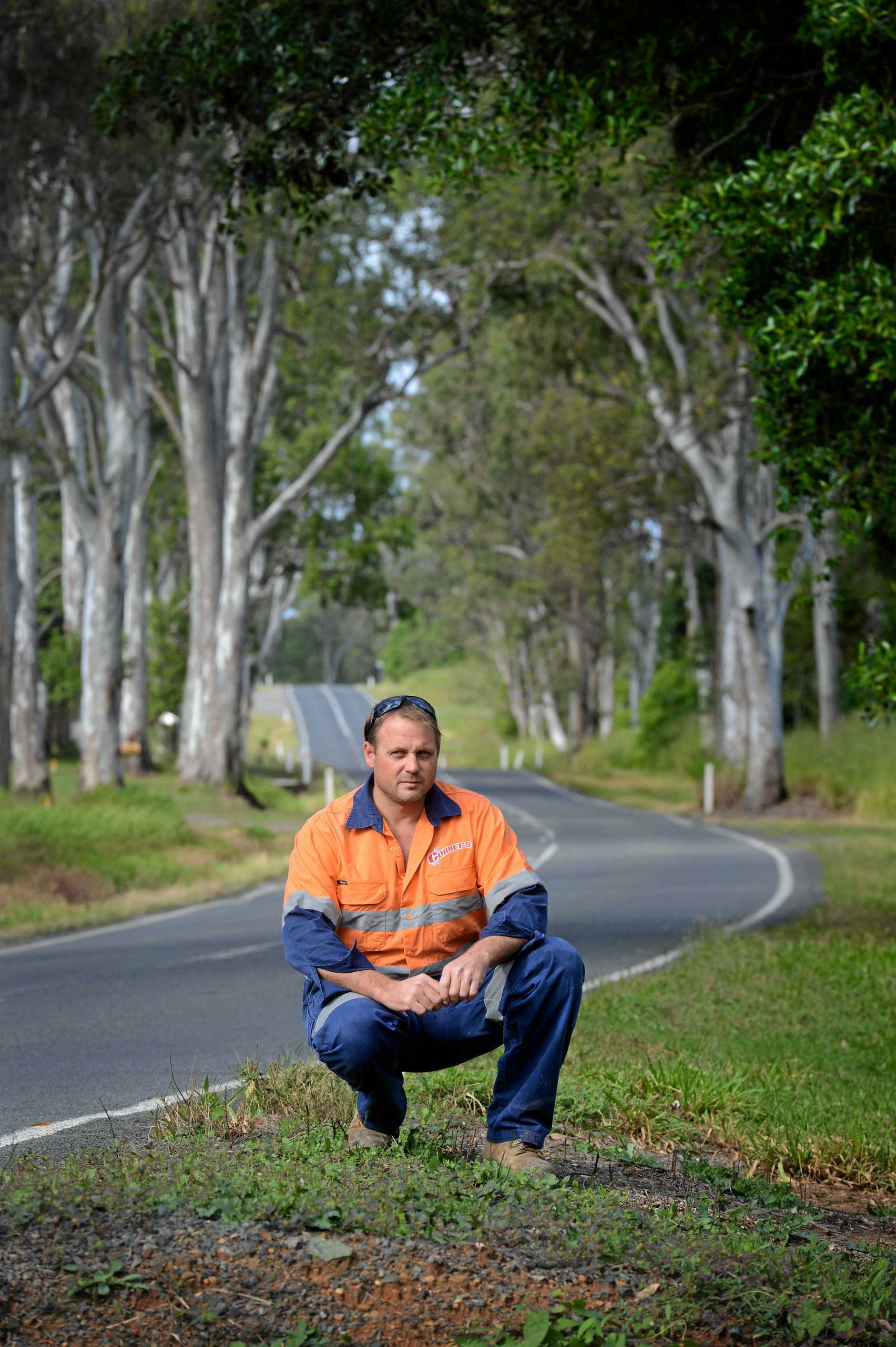 TREES GOING: Andrew Corbet is upset trees are going to be cut down along  the stretch of Mary Valley highway at Long Flat. Photo Craig Warhurst / The Gympie Times