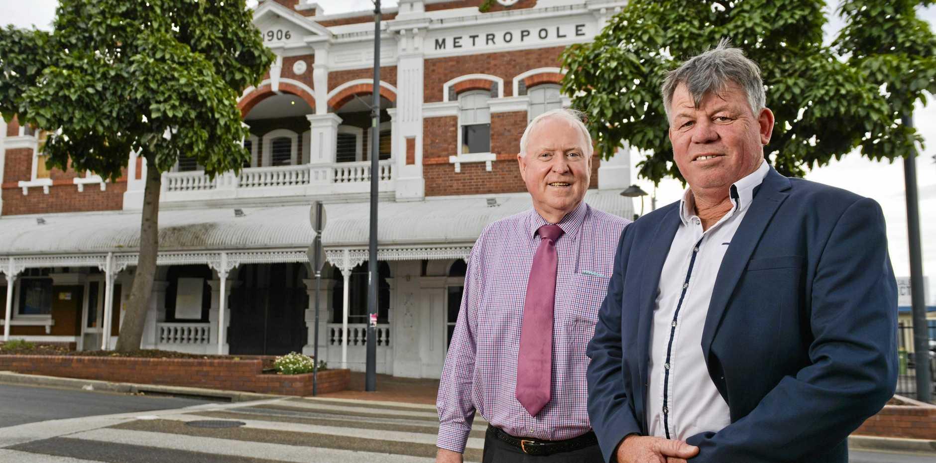 Morrie Marsden and Warren Ramsey, of Ray White Ipswich at Hotel Metropole.