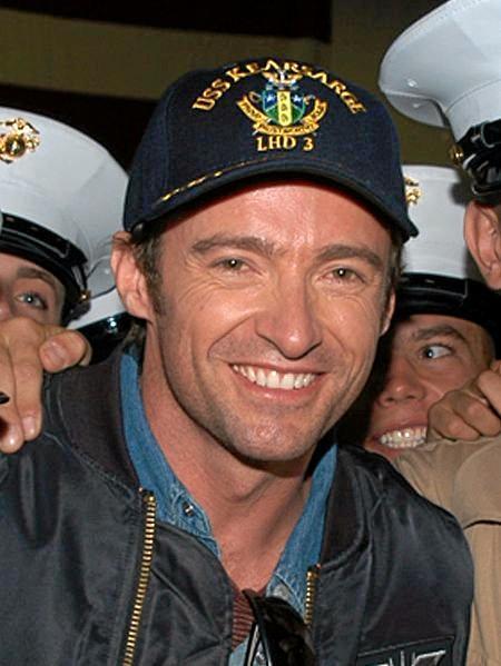 Hugh Jackman pictured in New York in 2006 inside the hangar bay aboard the amphibious assault ship USS Kearsarge.