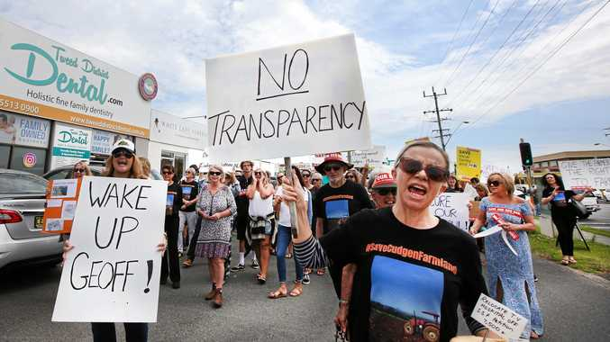 Protesters rally outside Tweed MP Geoff Provest's office.