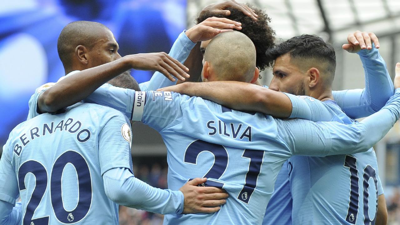 Sergio Aguero has started the season in goal-scoring frenzy. (Paul Ellis/AFP)