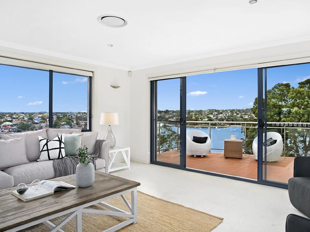 Many of the home's rooms have views looking over the Lane Cove River.