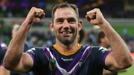 Cameron Smith shows his joy after the Storm's preliminary final victory over Cronulla. Picture: Hamish Blair/Getty Images