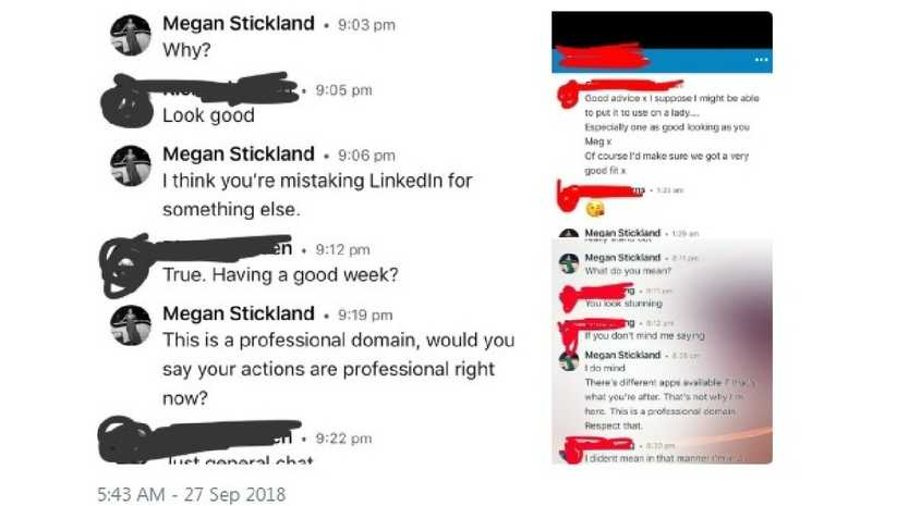 Meg Stickland says it's not LinkedIn's fault — but slammed the actions of individual men. Picture: Twitter