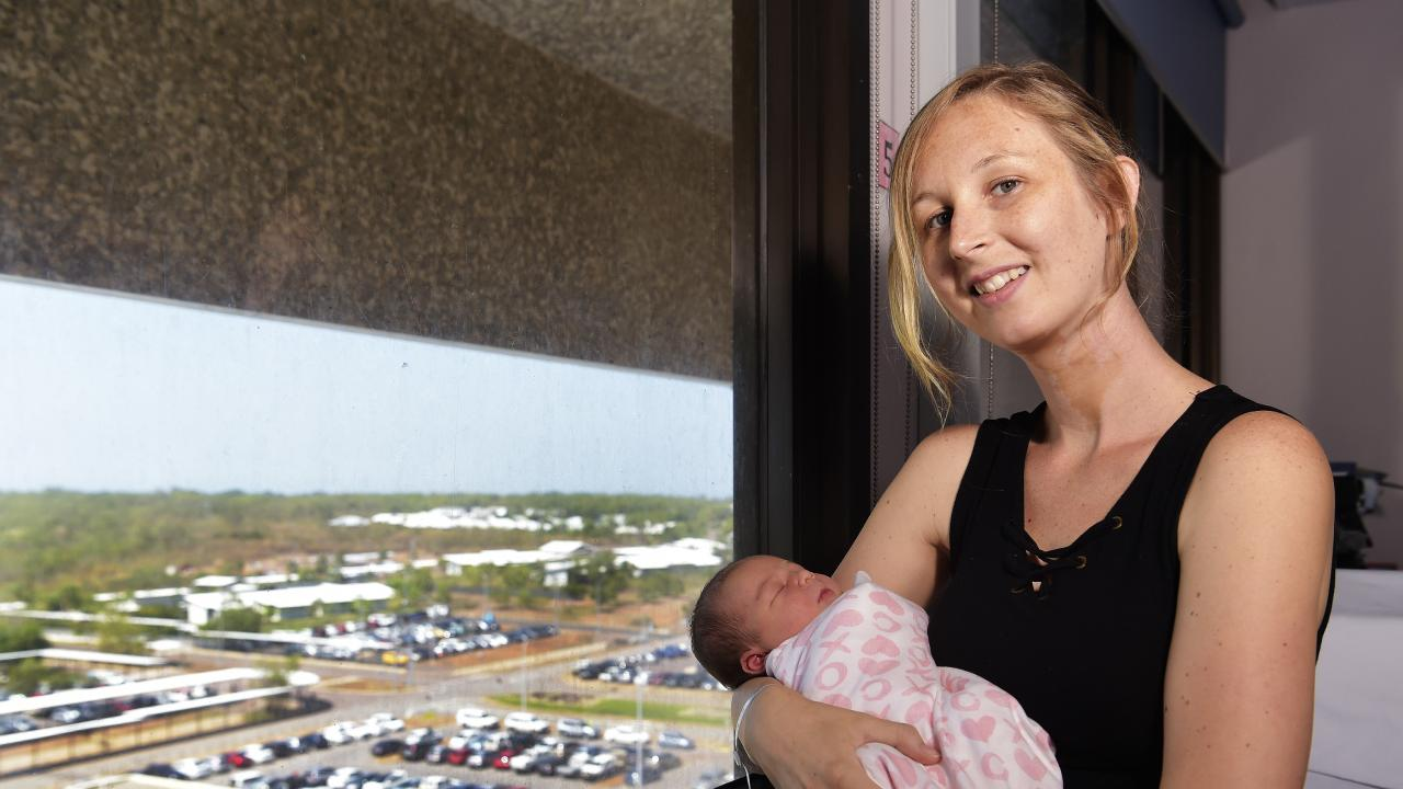 Mother Tanya O'Connor with new bub Charlotte at Royal Darwin Hospital. Picture: Keri Megelus