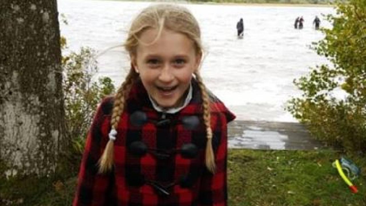 Saga Vanecek, 8, pulled a 1500 years old sword out of a lake in Sweden. Picture: Facebook