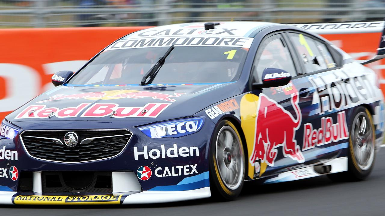 Red Bull Racing's Jamie Whincup on his way to setting the fastest qualifying time at Bathurst on Friday. Picture: Tim Hunter.