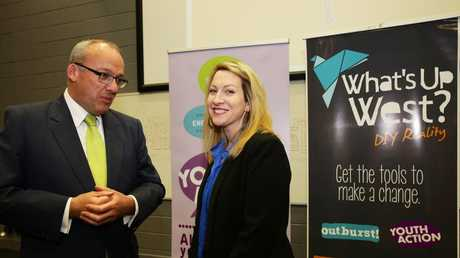 Youth Action chief executive Katie Acheson speaks with Labor leader Luke Foley at a UWS Parramatta campus conference.