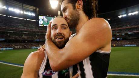 A countback couldn't separate Magpies Steele Sidebottom and Brodie Grundy. Picture: Michael Willson