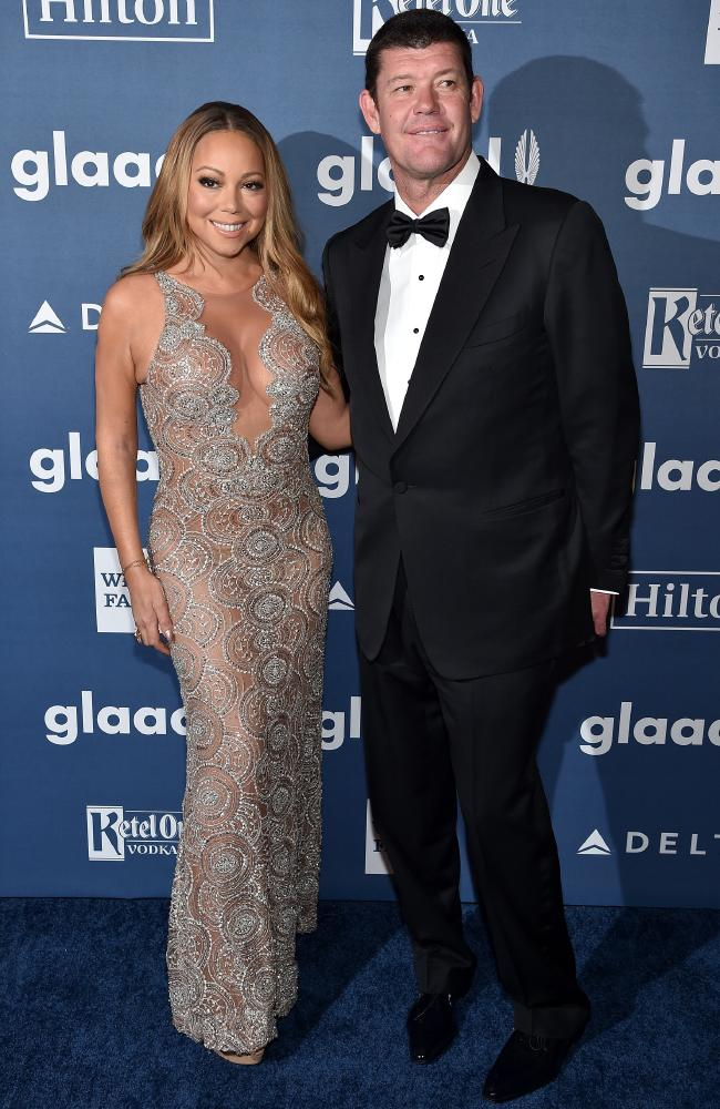 Mariah Carey (L) and James Packer at the 27th Annual GLAAD Media Awards in New York, May 2016. Picture: Dimitrios Kambouris/Getty Images for GLAAD