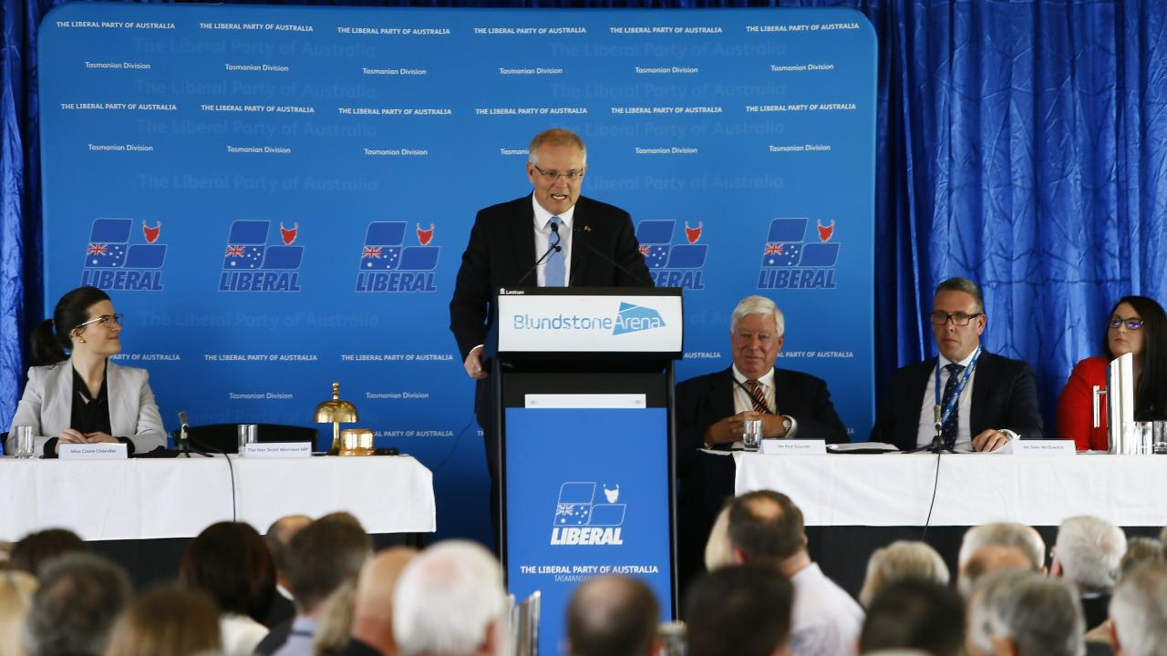 The Liberal State Conference / Council held at Blundstone Arena on Sunday. Pictured is Prime Minister Scott Morrison addressing the crowd. Picture: MATT THOMPSON