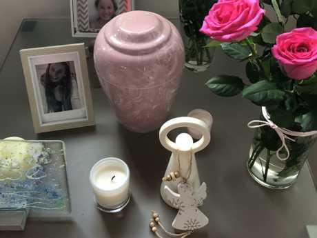 Eloise Gannon's urn in the family's living room.