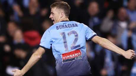 Trent Buhagiar celebrates scoring Sydney FC's opening goal. Picture: Getty Images