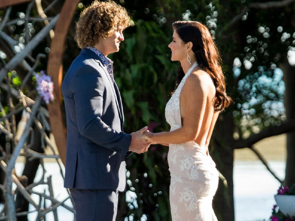 Nick Cummins in The Bachelor finale with Brittany Hockley. Picture: Supplied