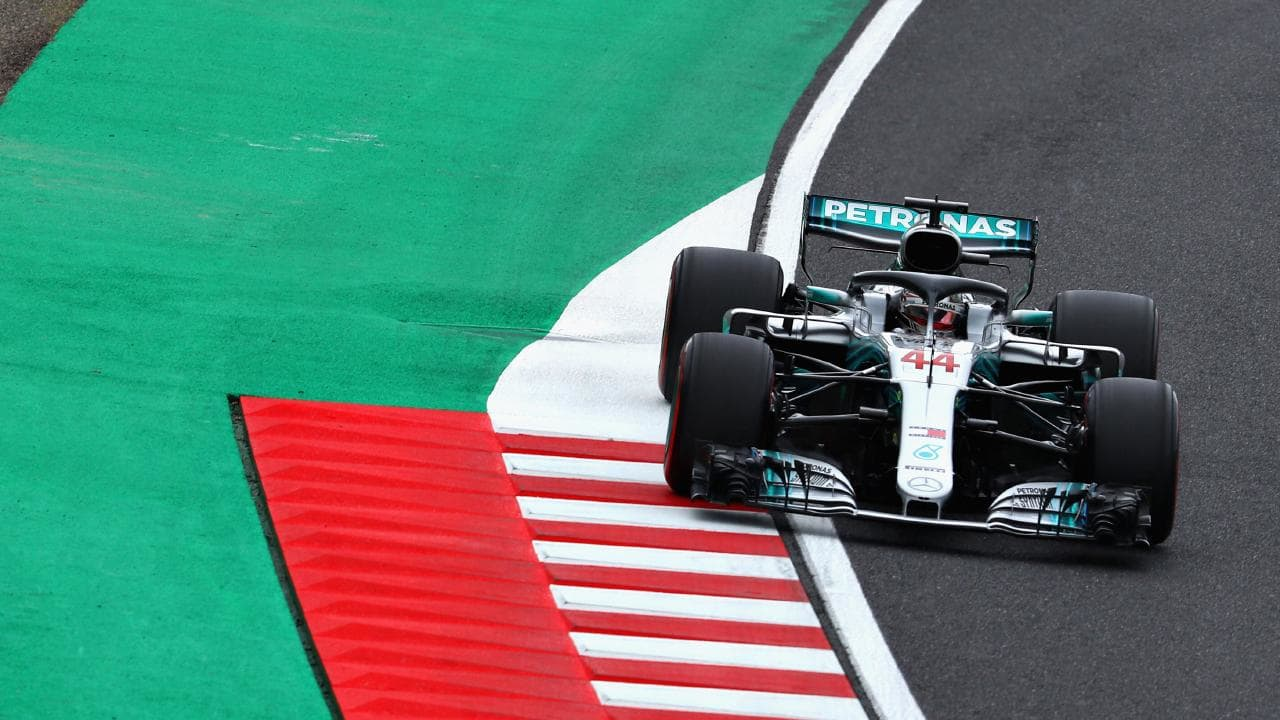 Lewis Hamilton made it a hat-trick of quickest practice times in Japan. Picture: Mark Thompson/Getty