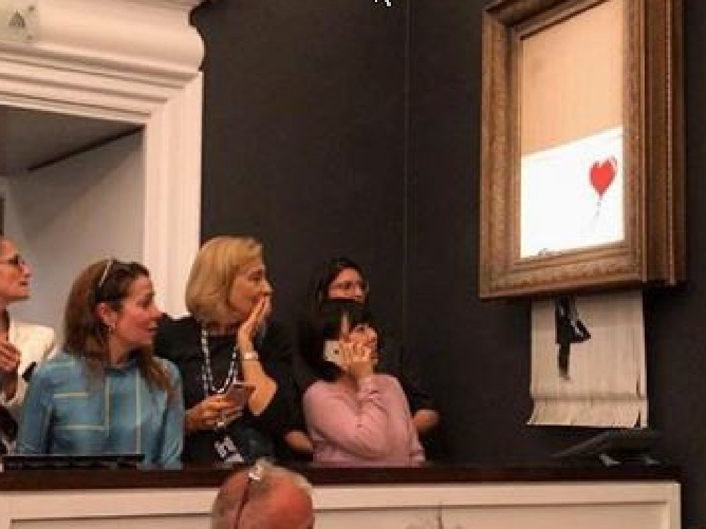 A photo of the destroyed painting uploaded to Banksy's Instagram with the caption
