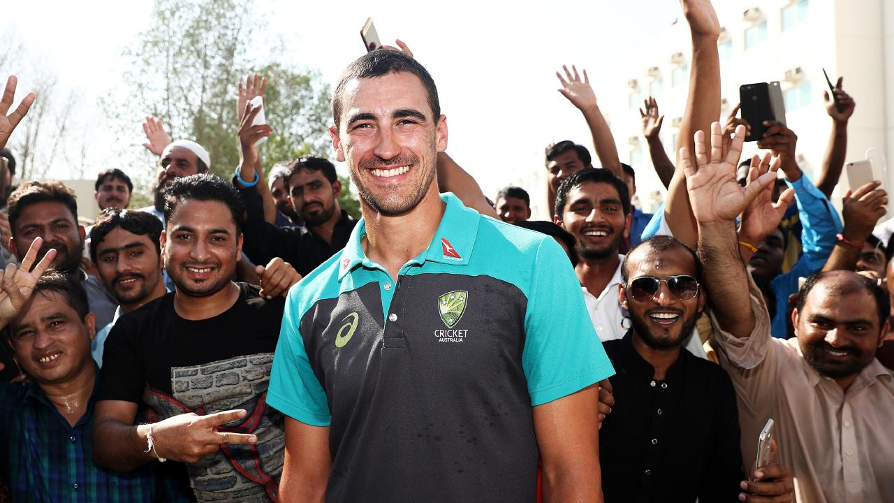 DUBAI, UNITED ARAB EMIRATES - OCTOBER 05: Mitchell Starc of Australia visits Al Naboodah Village during the Cricket Cares Visit on October 05, 2018 in Dubai, United Arab Emirates. Australian cricketers today visited one of Dubai's largest labour camp facilities to experience how workers live, and hear stories of sacrifices they have made for their families. (Photo by Ryan Pierse/Getty Images)