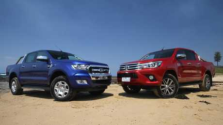 Our top selling cars are now utes. Ford Ranger, left, and Toyota HiLux, right. Picture: Supplied.