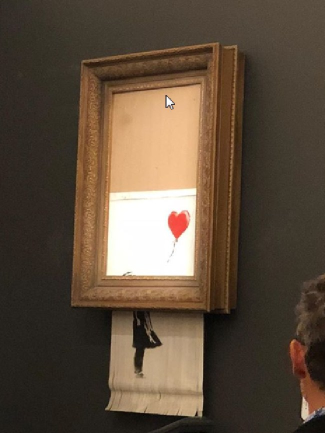 A photo of the destroyed Banksy art. Picture: Instagram/ Casterline Goodman Gallery.