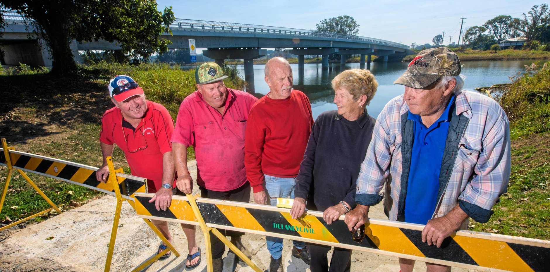 Tony Berry, John hoy, President Rick Reid, Lyn Morgan and Rick Morgan at  the closed Sportsman Creek boat ramp.