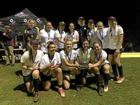CELEBRATION: The Yamba Breakers team tasted victory at the Oceania Cup in Alstonville, overcoming Virginia Knights in the Open B final.