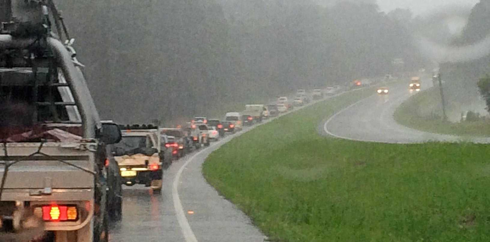 GRIDLOCK: School holiday traffic in the wet will make for a grinding afternoon drive on the Bruce Highway.