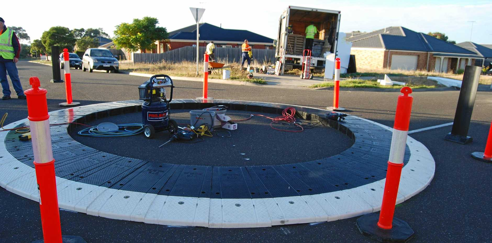 TRAFFIC FIRST: A rubber roundabout was installed at Bilambil Heights this week.