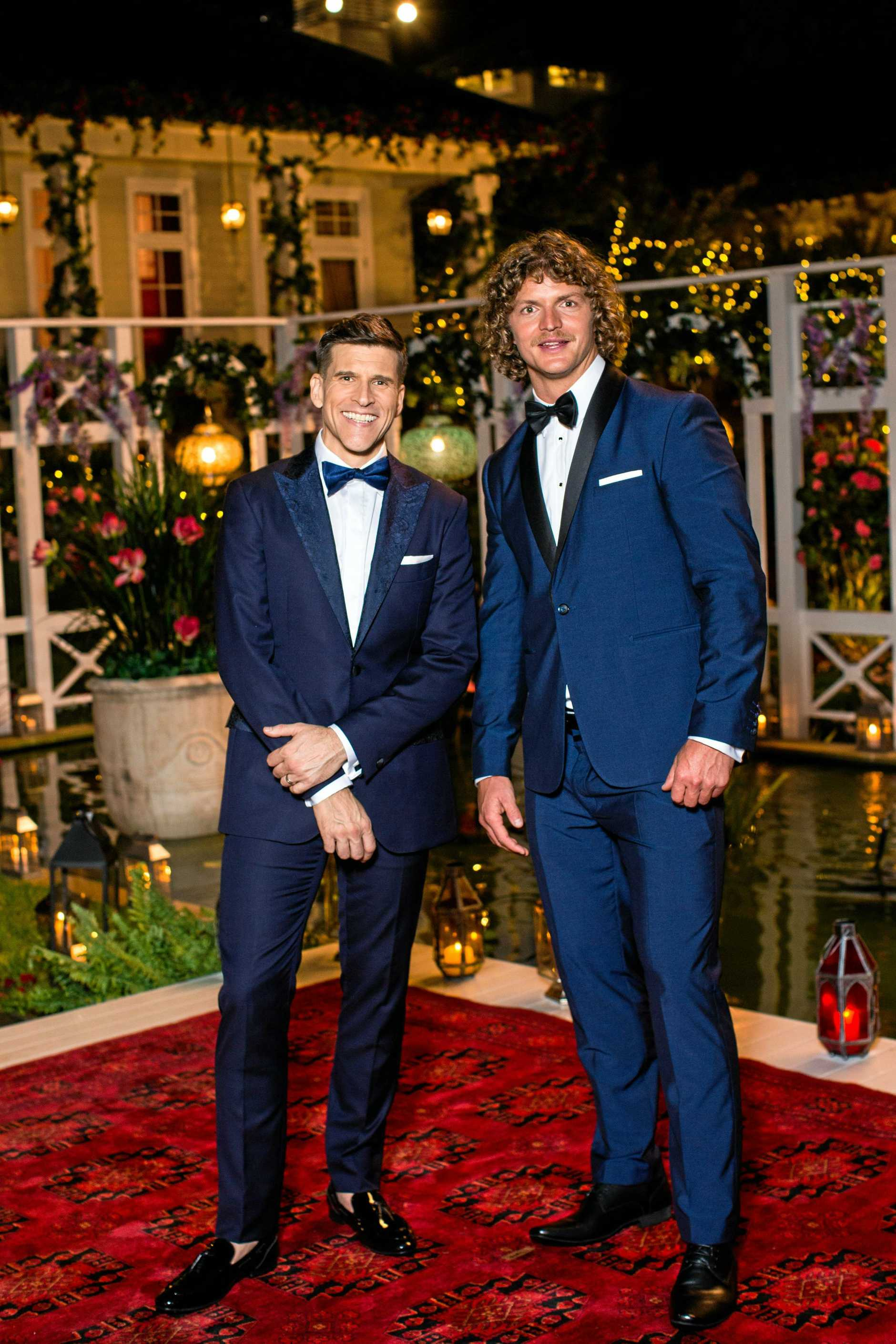 The Bachelor Australia host Osher Gunsberg with this year's Bachelor Nick Cummins. Supplied by Channel 10.