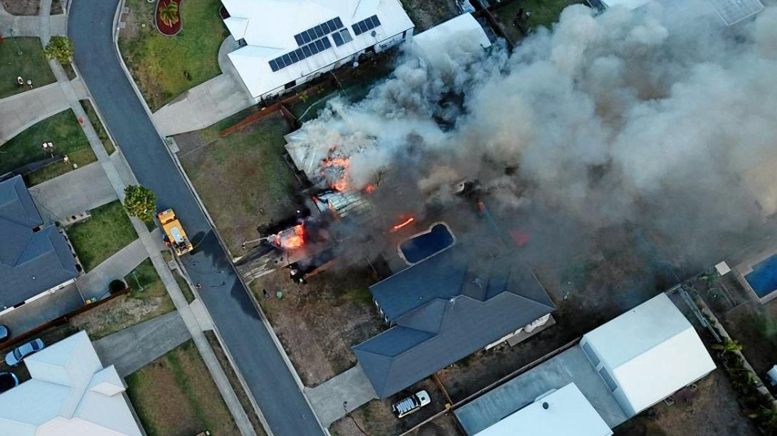 Aerial footage of a house fire at Marian.
