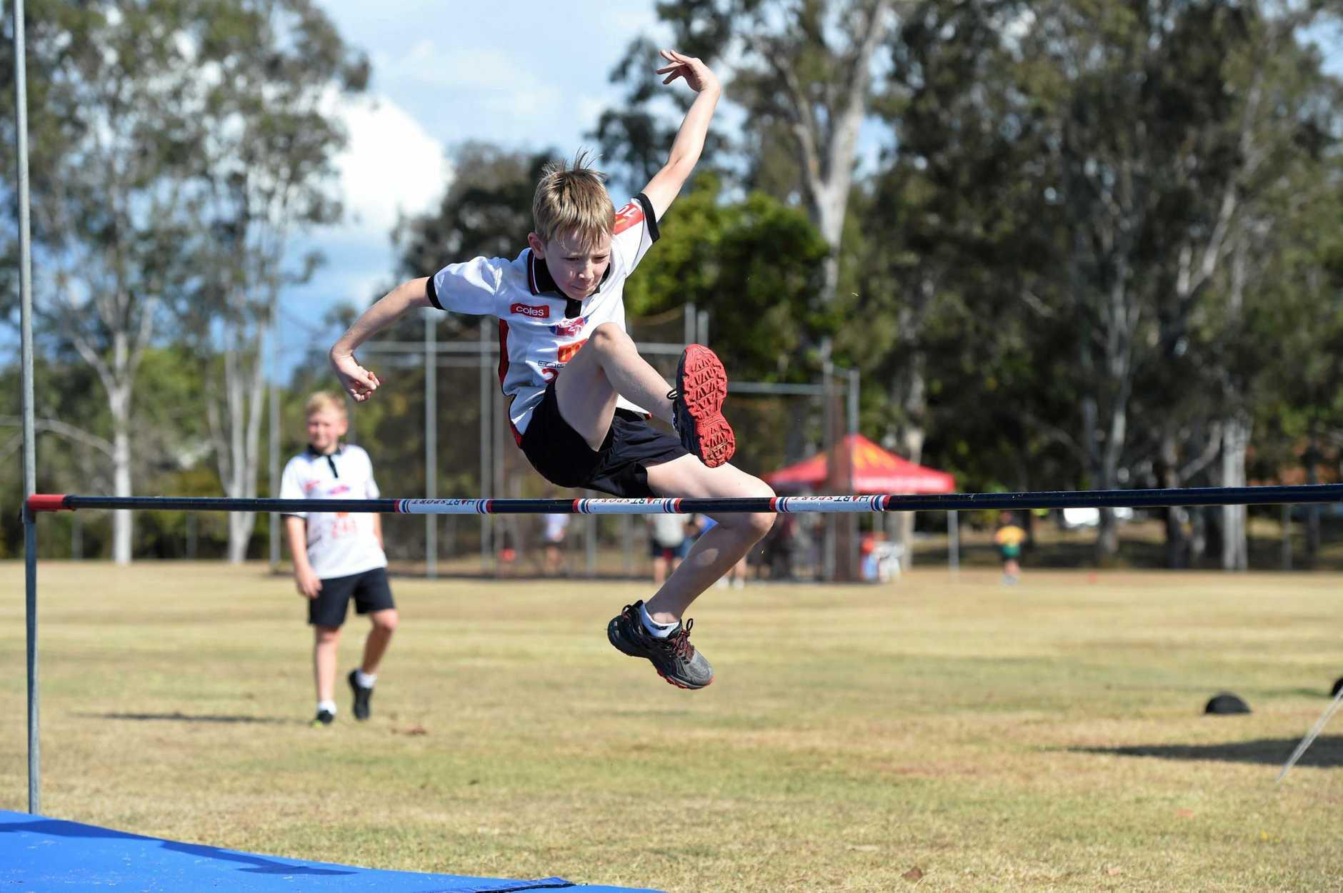Maryborough's Angus Cameron in high jump.