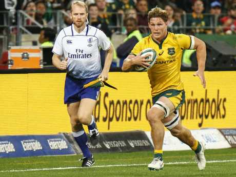Wallabies captain Michael Hooper on the charge.