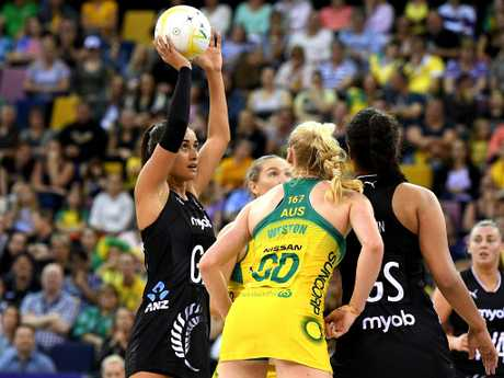 Maria Folau of the New Zealand Silver Ferns finished with 26 goals from 29 attempts but got precious little support from her goal shooters. Picture: Getty Images