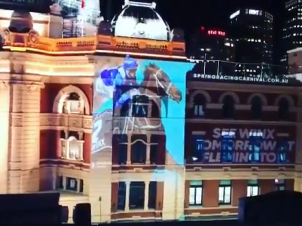 Flinders Street Station in Melbourne was promoting Winx last week.