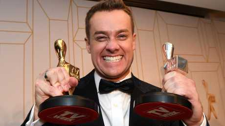 Grant Denyer poses with his Gold Logie at the 2018 Logie Awards.