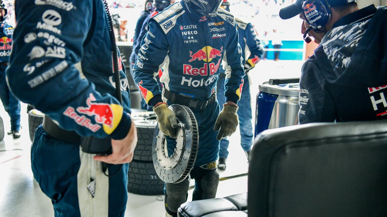 Mechanical part removed from Jamie Whincup's car of Red Bull Holden Racing team