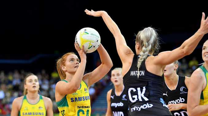 Stephanie Wood  shoots for goal during the Constellation Cup clash against New Zealand. (Picture: AAP Image)