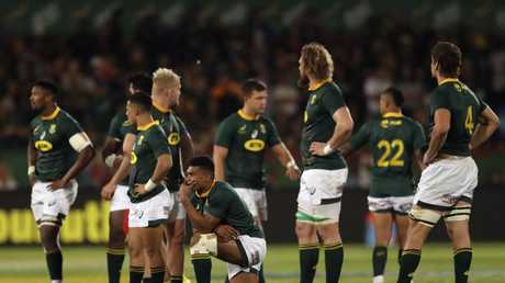 Dejected South Africa players look on at the end of the Rugby Championship match.