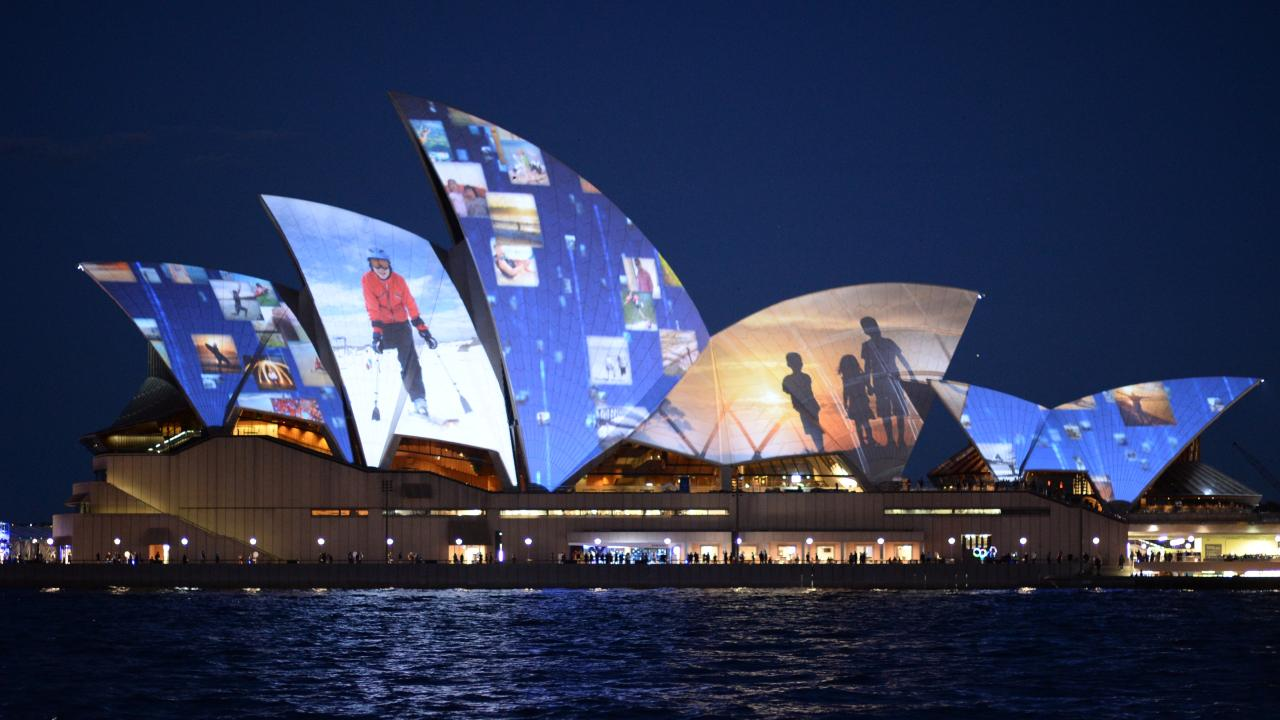 The Sydney Opera House was lit up by Samsung for a promotion in 2013.