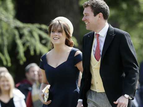 The soon-to-be bride and groom at the wedding of Pippa Middleton and James Matthews.  Picture:  AP